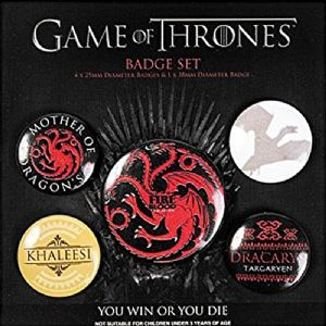 Game of Thrones Fire and Blood 5 Pin Badges in Pack (py)